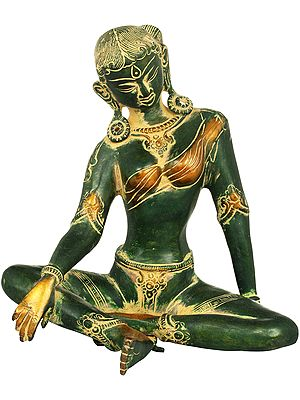 The Ethereal Green Tara, Her Karnaphool Long Enough To Touch Her Shoulders