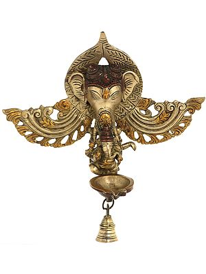 Wall Hanging Ganesha Mask with Dancing Ganesha Lamp with Bell
