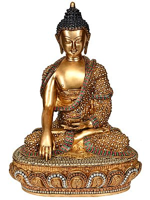 Beautifully Ornamented Lord Buddha in Bhumisparsha Mudra (Tibetan Buddhist)