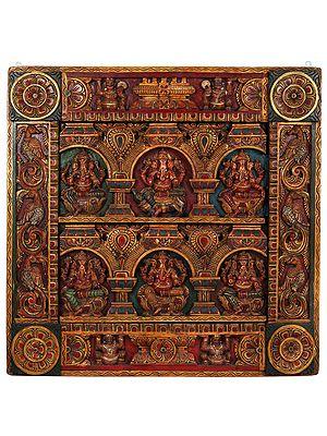 Richly Coloured Wooden Panel Of Six Ganesha Figurines