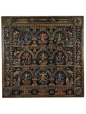 Lakshmi Ganesha Saraswati Panel with Six Ganeshas