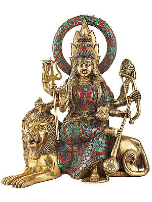 Colorful Inlayed Durga (Sheravali) Mata in her Subtle Beauty