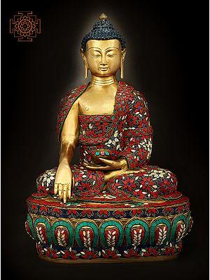 Bhumisparsha Lord Buddha With Fine Inlay Work