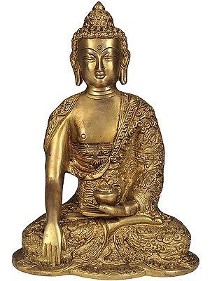 Lord Buddha in Bhumisparsha Mudra with Pindapatra (Robes Decorated with Auspicious Symbols)