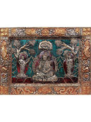 Tibetan Buddhist Deity- Guru Padmasambhava with His Chief  Disciples (Framed with Dragon, Deer and Auspicious Symbols) (Wall Hanging)