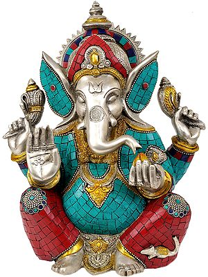 Lord Ganesha Seated in Easy Posture (Inlay Statue)