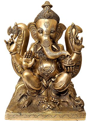 Large Size Lord Ganesha Seated Against the Backdrop of Trident