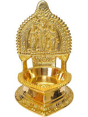 Vishnu Puja Diya with Bhudevi and Shridevi