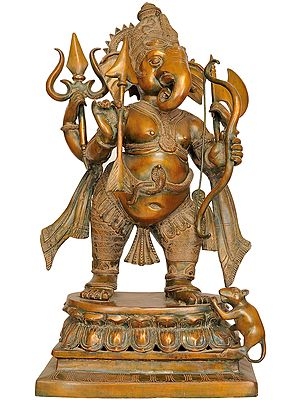 Large Size Yuddha-Ganapati: Ganesha in Warrior Form