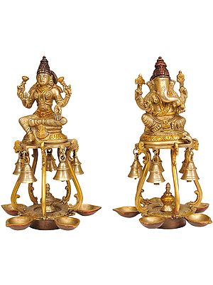 Pair of Lakshmi Ganesha Lamps with Bells