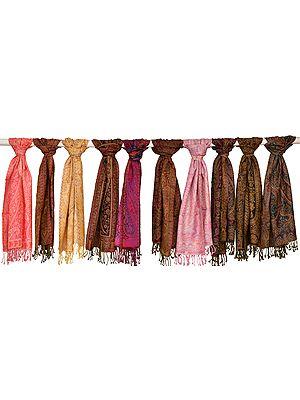 Lot of Ten Jamawar Scarves
