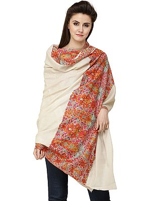 Oyster-White Pure Pashmina Handloom Shawl from Kashmir with Multicolored Kalamkari Hand-Embroidery on Border