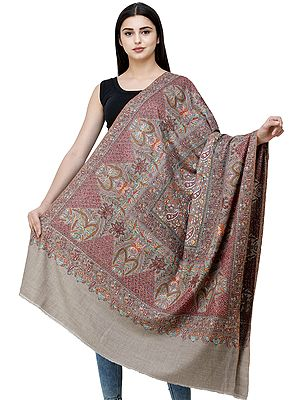 Simply-Taupe Pure Pashmina Shawl from Kashmir with Sozni Hand-Embroidery in Multicolor Thread