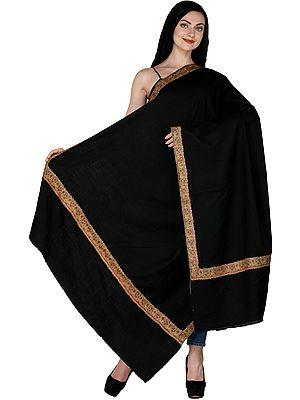Jet-Black Pure Pashmina Shawl from Kashmir with Kalamkari Hand-Embroidery in Multicolor Thread on Border