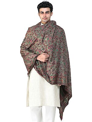 Men's Cashmere Shawl from Amritsar with Kani Woven Multicolor Flowers and Paisleys