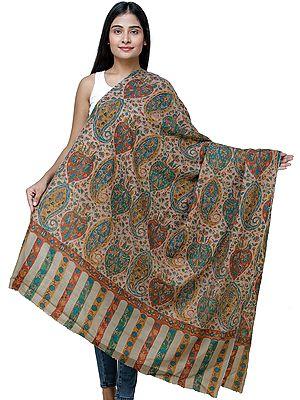 Dune-Brown Kani Pashmina Shawl From Kashmir with Kalamkari Hand Embroidery