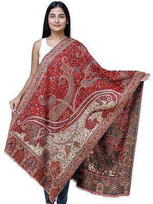 Jamawar Stole with Woven Paisleys and Floral Motifs from Amritsar