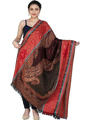 Jamawar Stole from Amritsar with Woven Paisleys in Multicolor Thread amd Ari embroidery