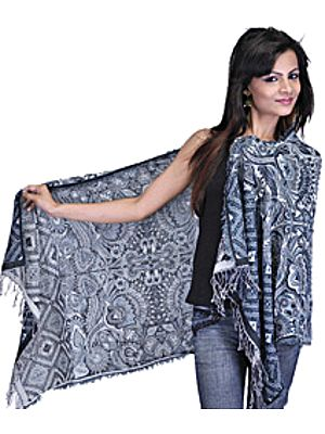 Dark Denim and Gray Reversible Jamawar Stole with All-Over Woven Flowers