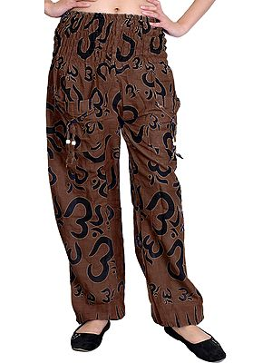 Yoga Casual Trousers With Printed Om