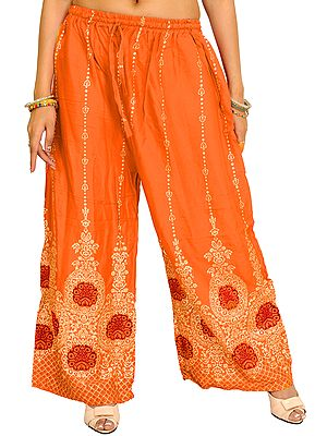 Casual Yoga Trousers with Golden Floral Print