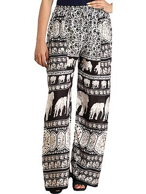 Casual Trouser with Printed Elephants and Side Pockets