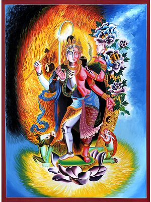 Large Ardhanarishvara (Shiva Shakti) - Brocadeless Thangka