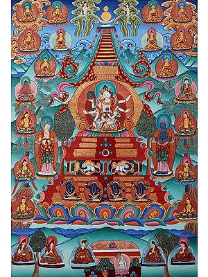Tibetan Buddhist Vijaya Stupa: For Long Life of The Patron (Brocadeless Thangka)