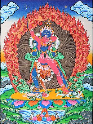 Tibetan Buddhist Paramsukha-Chakrasamvara in Yab Yum (Blissful Harmony)