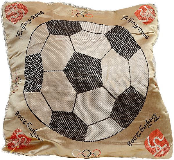 Beige Cushion Cover from Sikkim with Woven Football Commemorating Beijing Olympics