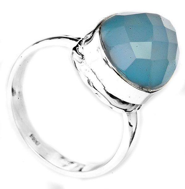 Faceted Blue Chalcedony Drop Ring
