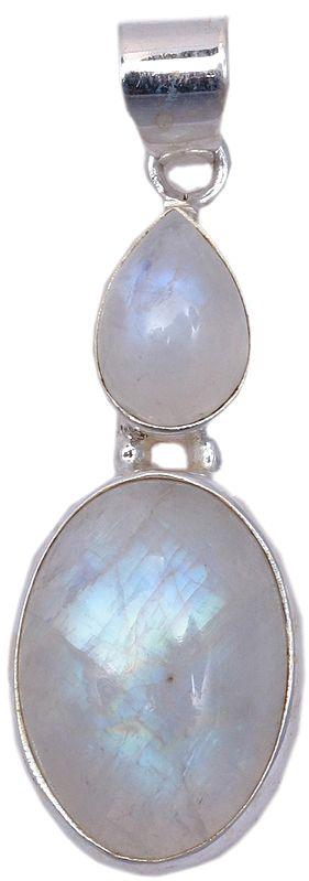 Embellished Cabochon and Tear-Drop Moonstones Pendant