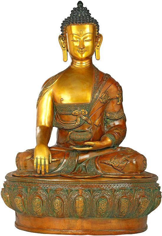 Tibetan Buddhist Lord Buddha in Bhumisparsha Mudra Wearing a Robe Carved With Auspicious Symbols - Large Size