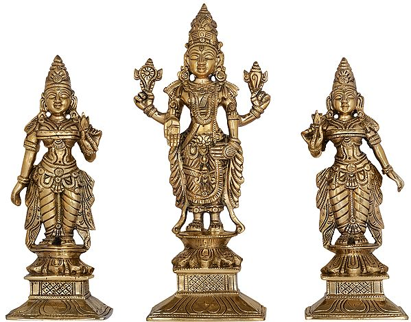 Bhagawan Vishnu with Lakshmi and Bhudevi